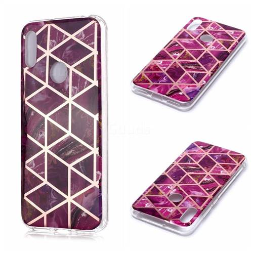Purple Rhombus Galvanized Rose Gold Marble Phone Back Cover for Huawei Y6 (2019)