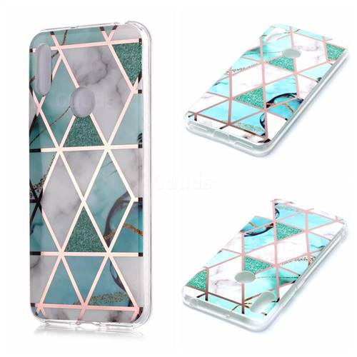 Green White Galvanized Rose Gold Marble Phone Back Cover for Huawei Y6 (2019)