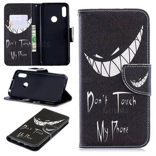 Crooked Grin Leather Wallet Case for Huawei Y6 (2019)