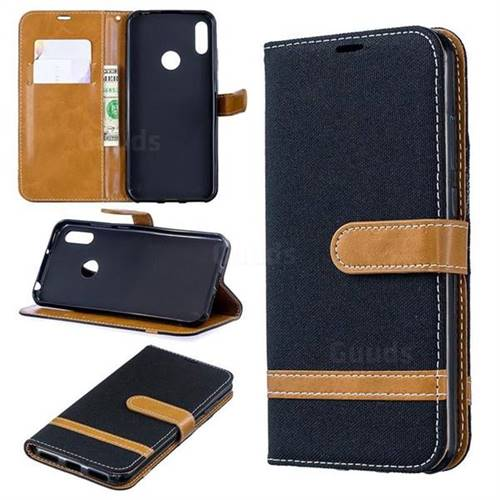 Jeans Cowboy Denim Leather Wallet Case for Huawei Y6 (2019) - Black