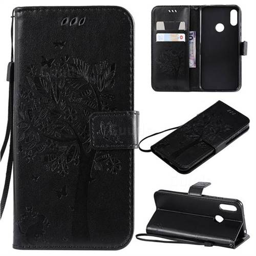 Embossing Butterfly Tree Leather Wallet Case for Huawei Y6 (2019) - Black