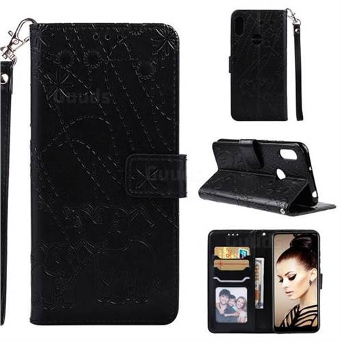 Embossing Fireworks Elephant Leather Wallet Case for Huawei Y6 (2019) - Black
