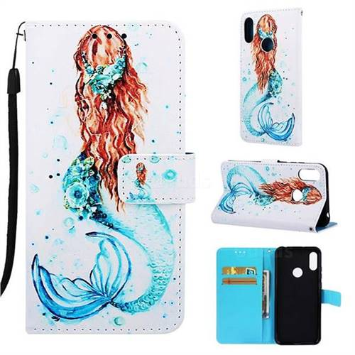free shipping 550ea eea8b Mermaid Matte Leather Wallet Phone Case for Huawei Y6 (2019)