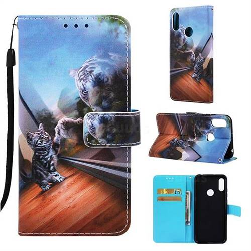 huge discount 3b061 e963f Mirror Cat Matte Leather Wallet Phone Case for Huawei Y6 (2019)