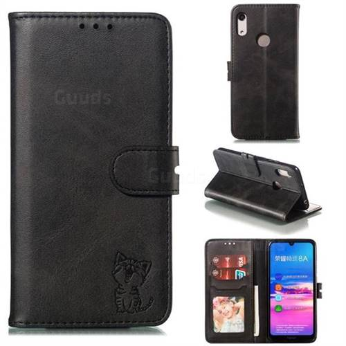 Embossing Happy Cat Leather Wallet Case for Huawei Y6 (2019) - Black