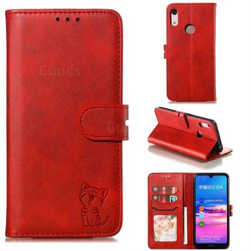Embossing Happy Cat Leather Wallet Case for Huawei Y6 (2019) - Red