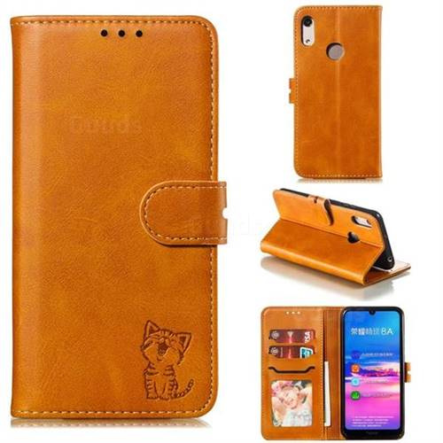Embossing Happy Cat Leather Wallet Case for Huawei Y6 (2019) - Yellow