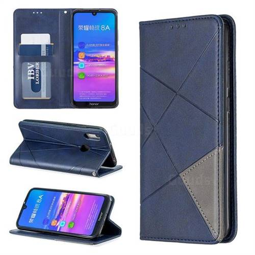 Prismatic Slim Magnetic Sucking Stitching Wallet Flip Cover for Huawei Y6 (2019) - Blue