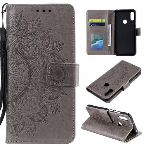 Intricate Embossing Datura Leather Wallet Case for Huawei Y6 (2019) - Gray