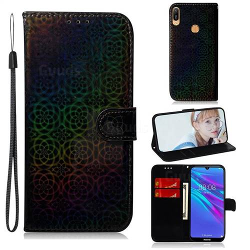 Laser Circle Shining Leather Wallet Phone Case for Huawei Y6 (2019) - Black