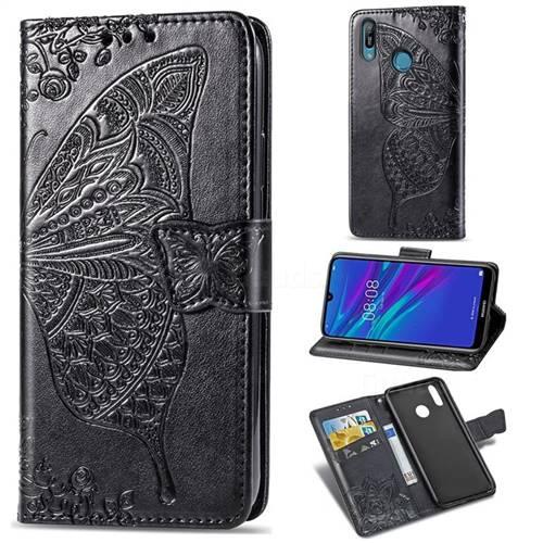 Embossing Mandala Flower Butterfly Leather Wallet Case for Huawei Y6 (2019) - Black