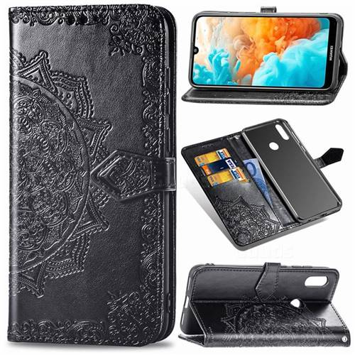 Embossing Imprint Mandala Flower Leather Wallet Case for Huawei Y6 (2019) - Black
