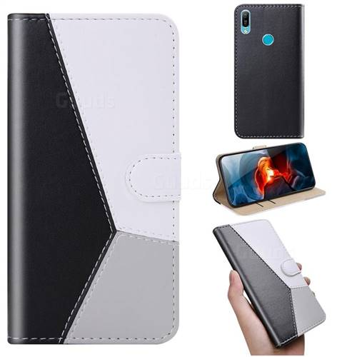 Tricolour Stitching Wallet Flip Cover for Huawei Y6 (2019) - Black