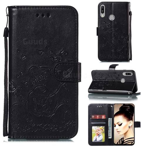 Embossing Butterfly Heart Bear Leather Wallet Case for Huawei Y6 (2019) - Black