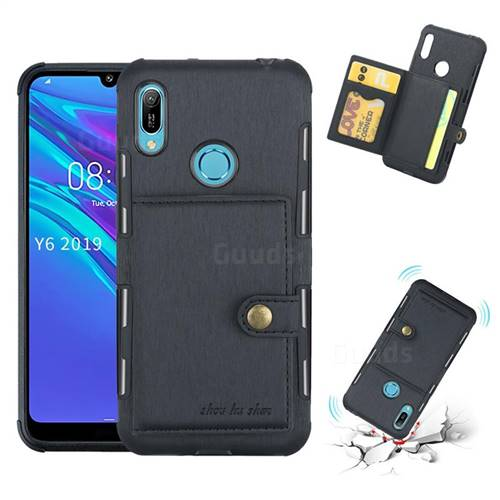 Brush Multi-function Leather Phone Case for Huawei Y6 (2019) - Black