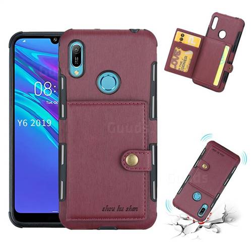 Brush Multi-function Leather Phone Case for Huawei Y6 (2019) - Wine Red