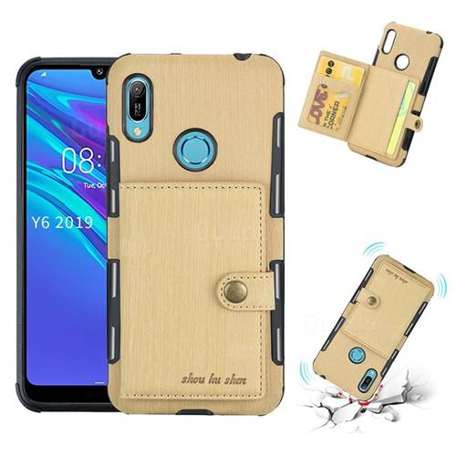Brush Multi-function Leather Phone Case for Huawei Y6 (2019) - Golden