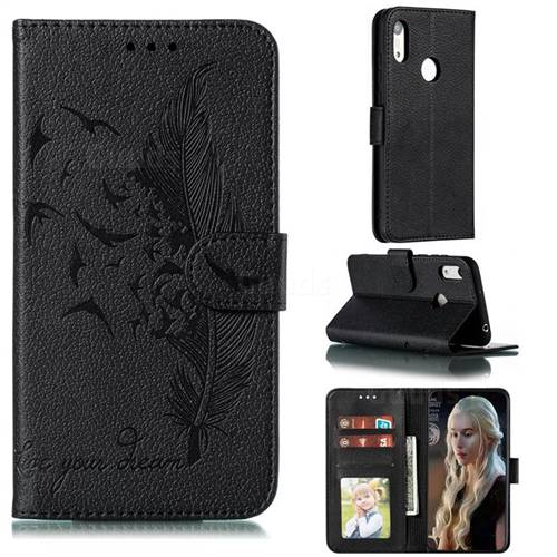 Intricate Embossing Lychee Feather Bird Leather Wallet Case for Huawei Y6 (2019) - Black