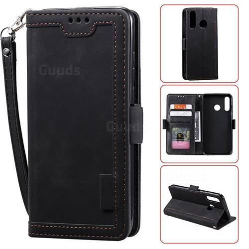 Luxury Retro Stitching Leather Wallet Phone Case for Huawei Y6 (2019) - Black