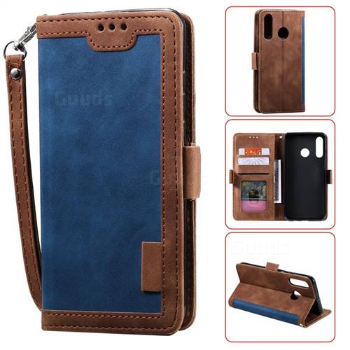 Luxury Retro Stitching Leather Wallet Phone Case for Huawei Y6 (2019) - Dark Blue