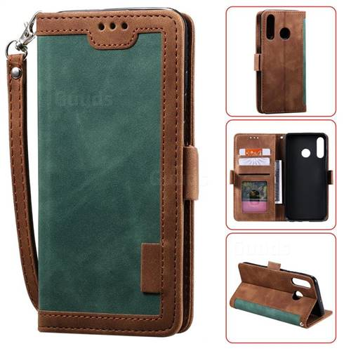 Luxury Retro Stitching Leather Wallet Phone Case for Huawei Y6 (2019) - Dark Green