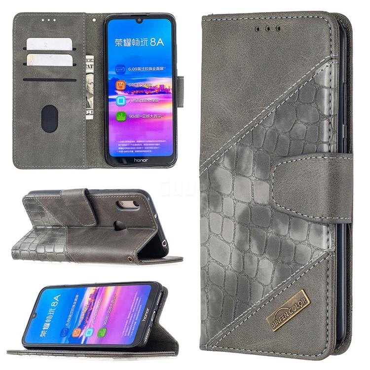 BinfenColor BF04 Color Block Stitching Crocodile Leather Case Cover for Huawei Y6 (2019) - Gray