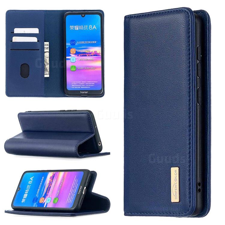 Binfen Color BF06 Luxury Classic Genuine Leather Detachable Magnet Holster Cover for Huawei Y6 (2019) - Blue