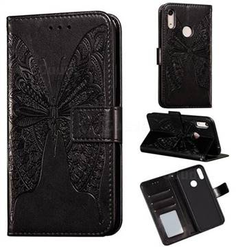 Intricate Embossing Vivid Butterfly Leather Wallet Case for Huawei Y6 (2019) - Black