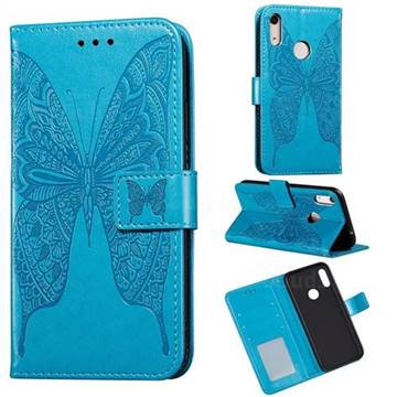 Intricate Embossing Vivid Butterfly Leather Wallet Case for Huawei Y6 (2019) - Blue