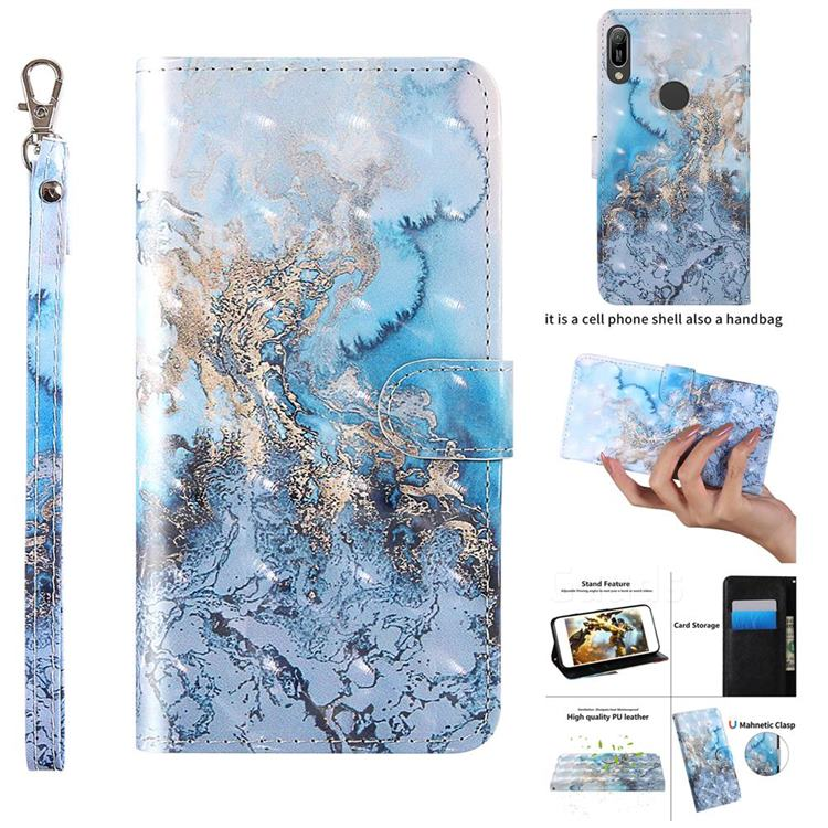 Milky Way Marble 3D Painted Leather Wallet Case for Huawei Y6 (2019)
