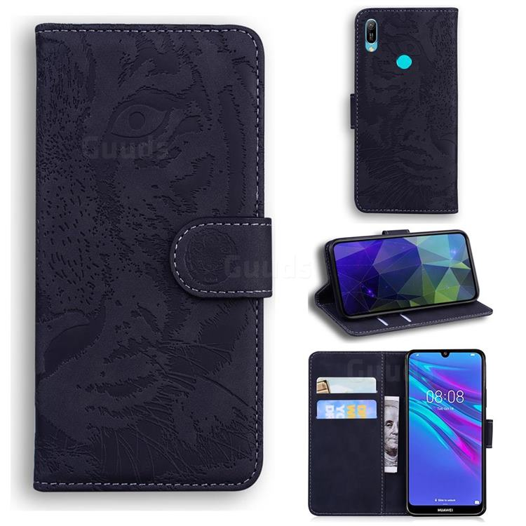 Intricate Embossing Tiger Face Leather Wallet Case for Huawei Y6 (2019) - Black