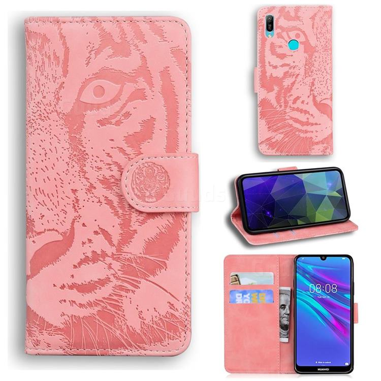 Intricate Embossing Tiger Face Leather Wallet Case for Huawei Y6 (2019) - Pink