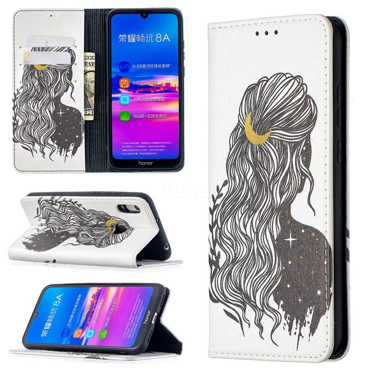Girl with Long Hair Slim Magnetic Attraction Wallet Flip Cover for Huawei Y6 (2019)