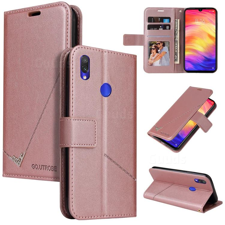GQ.UTROBE Right Angle Silver Pendant Leather Wallet Phone Case for Huawei Y6 (2019) - Rose Gold