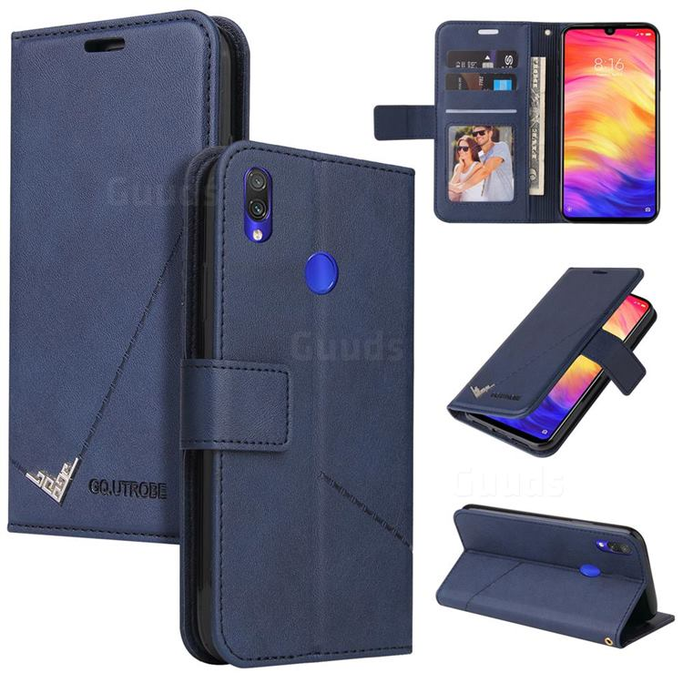 GQ.UTROBE Right Angle Silver Pendant Leather Wallet Phone Case for Huawei Y6 (2019) - Blue
