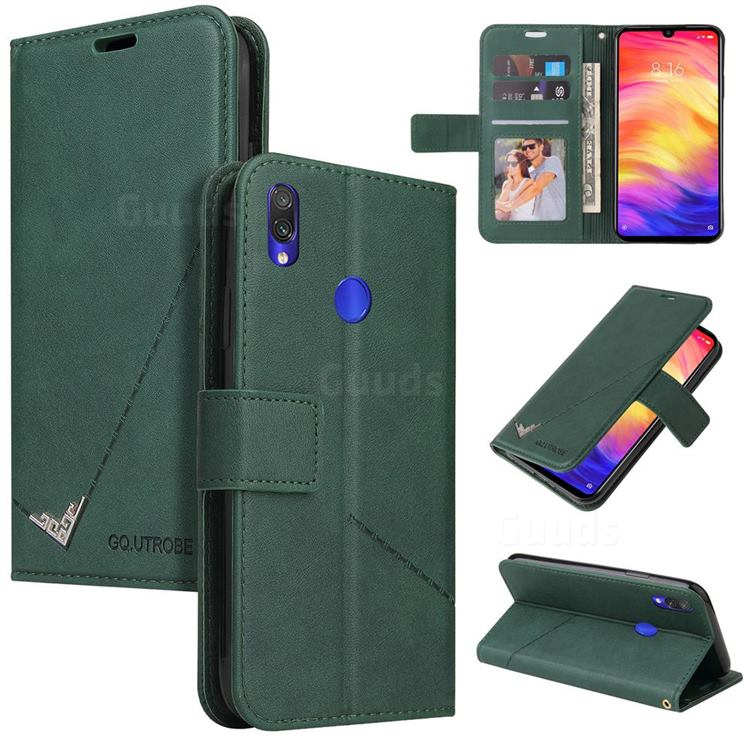 GQ.UTROBE Right Angle Silver Pendant Leather Wallet Phone Case for Huawei Y6 (2019) - Green