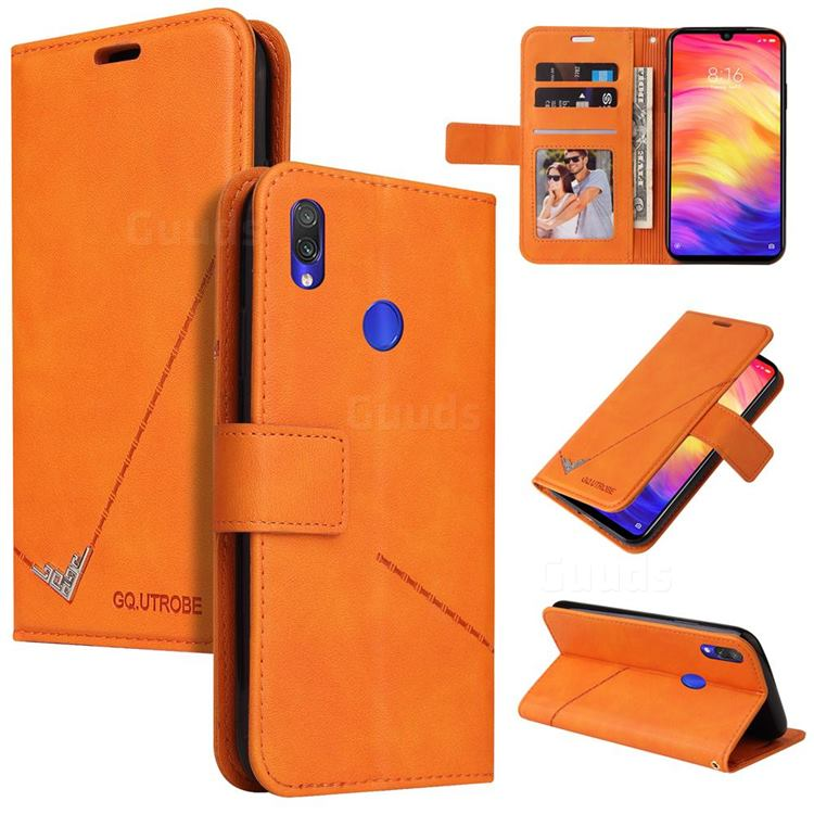 GQ.UTROBE Right Angle Silver Pendant Leather Wallet Phone Case for Huawei Y6 (2019) - Orange