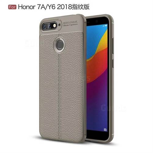 Luxury Auto Focus Litchi Texture Silicone TPU Back Cover for Huawei Y6 (2018) - Gray