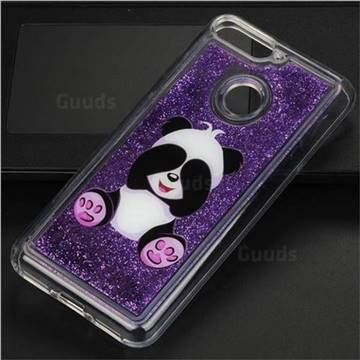 Naughty Panda Glassy Glitter Quicksand Dynamic Liquid Soft Phone Case for Huawei Y6 (2018)
