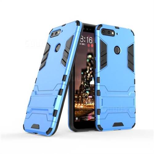 on sale fd807 6dfbb Armor Premium Tactical Grip Kickstand Shockproof Dual Layer Rugged Hard  Cover for Huawei Y6 (2018) - Light Blue