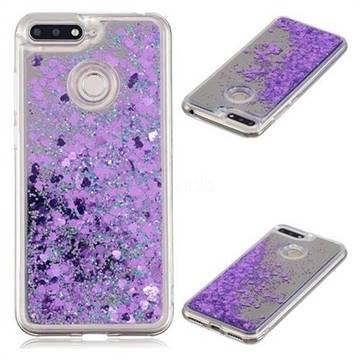 best loved f8800 639a5 Glitter Sand Mirror Quicksand Dynamic Liquid Star TPU Case for Huawei Y6  (2018) - Purple