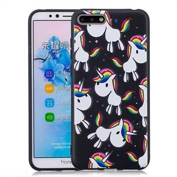 Rainbow Unicorn 3D Embossed Relief Black Soft Back Cover for Huawei Y6 (2018)