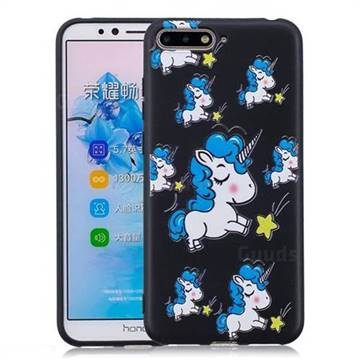 Blue Unicorn 3D Embossed Relief Black Soft Back Cover for Huawei Y6 (2018)