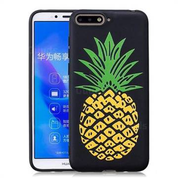 Big Pineapple 3D Embossed Relief Black Soft Back Cover for Huawei Y6 (2018)