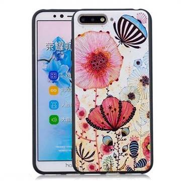 Pink Flower 3D Embossed Relief Black Soft Back Cover for Huawei Y6 (2018)