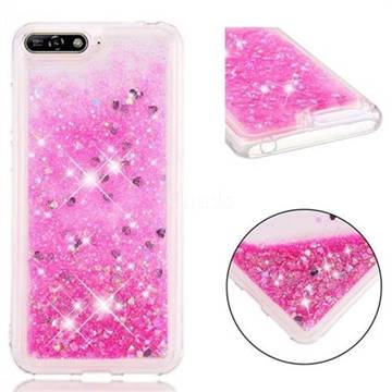 Dynamic Liquid Glitter Quicksand Sequins TPU Phone Case for Huawei Y6 (2018) - Rose
