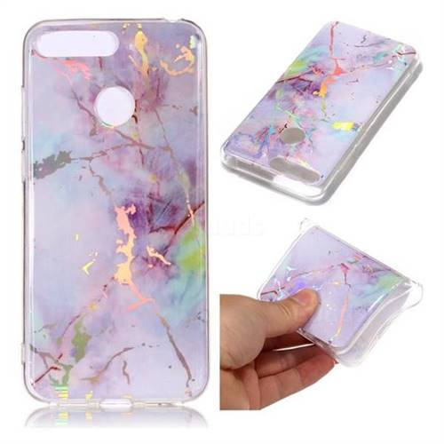 Pink Purple Marble Pattern Bright Color Laser Soft TPU Case for Huawei Y6 (2018)