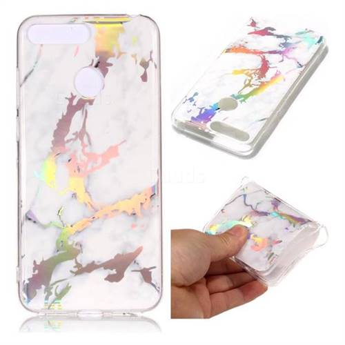 White Marble Pattern Bright Color Laser Soft TPU Case for Huawei Y6 (2018)