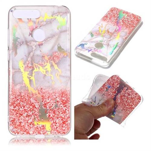 Powder Sandstone Marble Pattern Bright Color Laser Soft TPU Case for Huawei Y6 (2018)