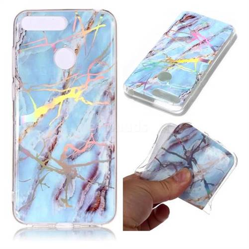 Light Blue Marble Pattern Bright Color Laser Soft TPU Case for Huawei Y6 (2018)